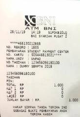 14. Akan muncul bukti pembayaran pada mesin ATM Bank Syariah