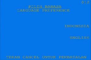 2. Kemudian pilih bahasa yang akan dipakai untuk transaksi pada ATM BNI