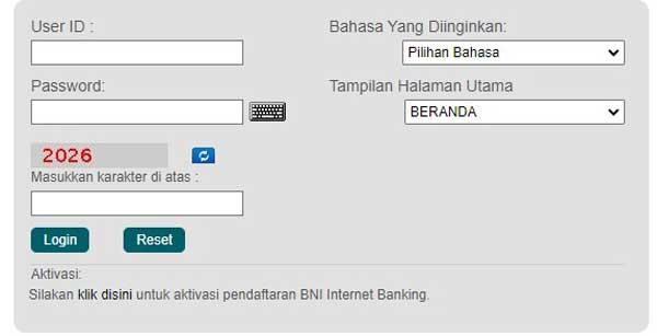 2. Lalu masukkan user ID dan password internet banking BNI