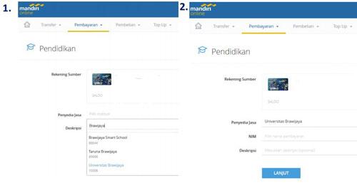 3. Pilih Rekening Sumber lalu pilih penyedia jasa UB dan masukkan NIM klik Lanjut bayar UKT melalui Internet Banking bank Mandiri