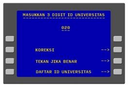 6. Masukkan 3 digit angka nomor ID Universitas.