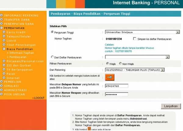 6. Nantinya akan muncul formulir pembayaran UKT Universitas Sriwijaya sebagai berikut