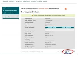 6. Selanjutnya simpan bukti pembayaran dengan format file yang akan di cetak