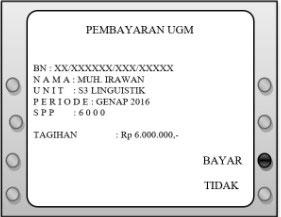 7. Layar ATM akan memunculkan data pembayaran jika benar silahkan klik Bayar