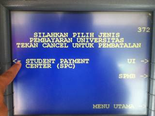 7. Pilih Student Payment Center sebagai jenis pembayaran universitas