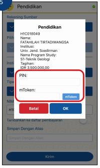 7. Setelah itu lakukan pengecekan tagihan jika sudah benar kemudian masukkan PIN m Banking dan tekan tombol OK untuk melanjutkan proses pembayaran lalu.