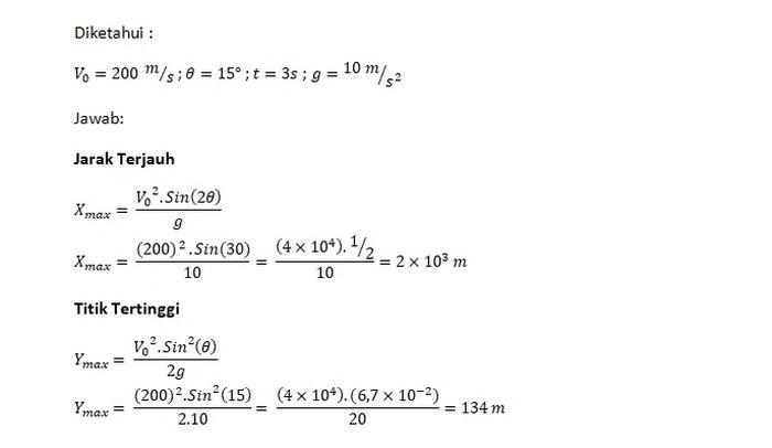 Jawaban Gerak Parabola 1