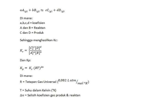 Rumus Dasar Kesetimbangan Kimia