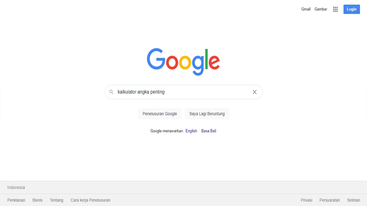 1.Pertama bukalah browser HP PC Laptop sebaiknya gunakan browser Chrome Mozilla lalu lakukan pencarian dengan kata kunci Kalkulator Angka Penting.
