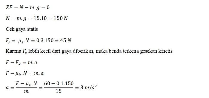 Jawaban Contoh Soal Gaya Gesek 5
