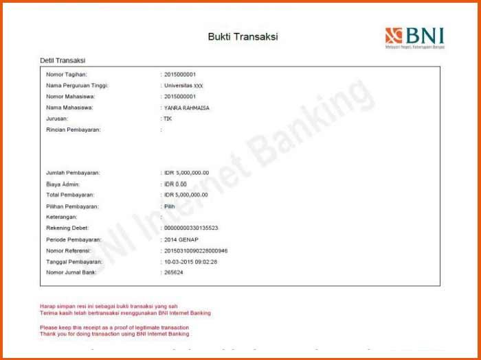 6. Contoh Bukti Bayar UKT UNY Melalui Internet Banking Bank BNI