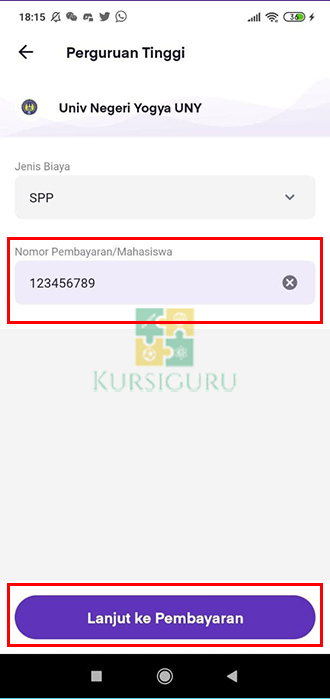 7. Masukkan Nomor Pembayaran Sesuai Tagihan Bayar SPP