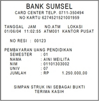 Bukti Bayar UKT UNSRI ATM Bank SUMSEL BABEL