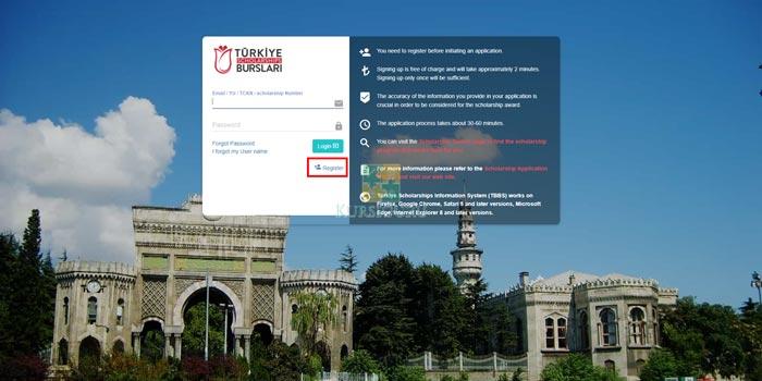 2.Registrasi Akun Turkiye Burslari