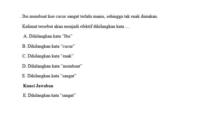 Contoh Soal PH Bahasa Indonesia