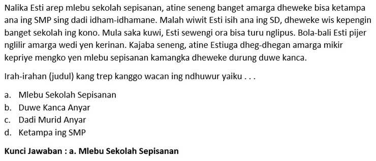 Contoh Soal PTS Bahasa Jawa 1