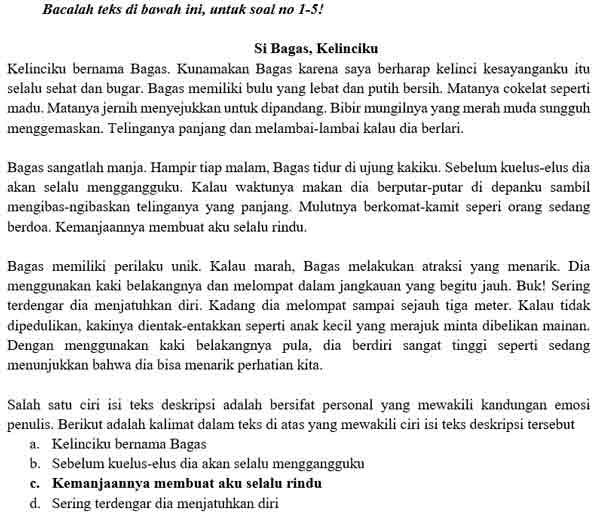 Contoh Soal PTS Bahasa Indonesia 1