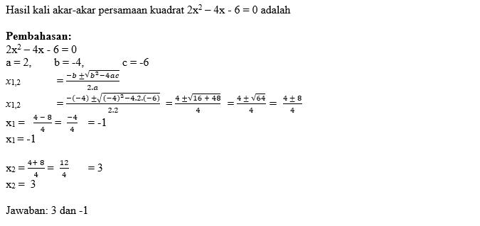 Contoh Soal Persamaan Kuadrat (3)