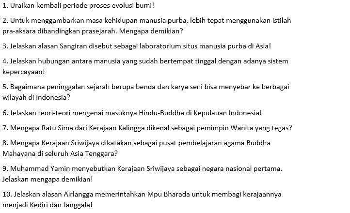 Contoh Soal Essay Sejarah Indonesia Kelas 10